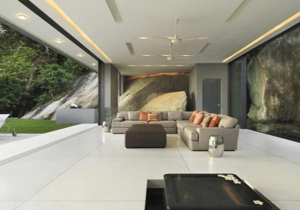 minimalist living rome in garage