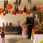 Halloween kids party in a garage