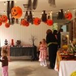 Halloween kids party in a garage