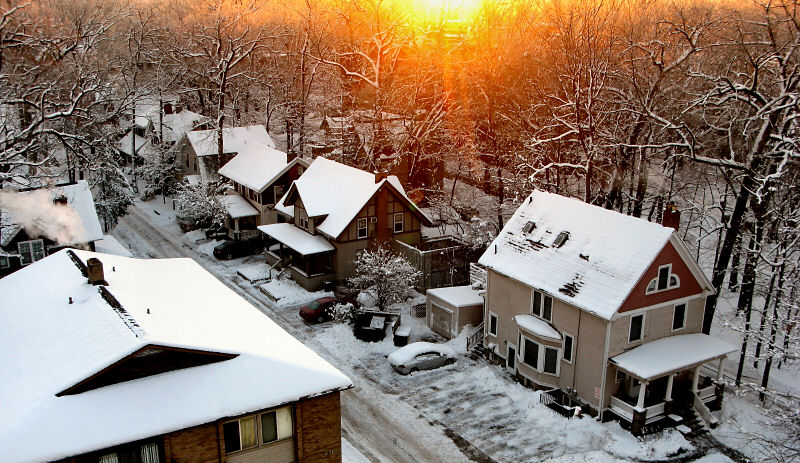 Residential houses in snow