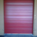 Dark red roll-up door