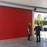 Red roll up door